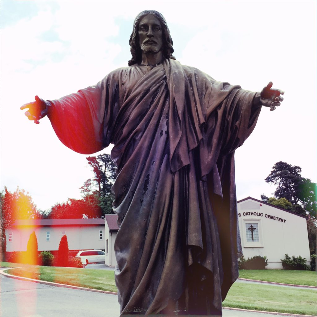 Jesus at the Colma necropolis - copyright David Quitmeyer